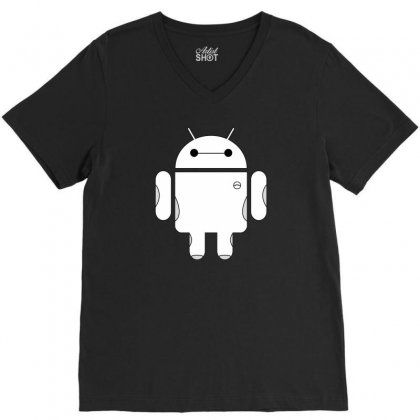 Baydroid Baymax Android V-neck Tee Designed By Chilistore