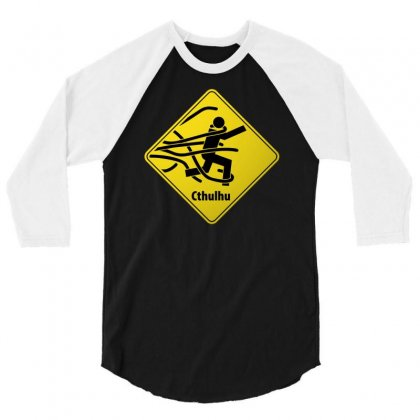 Cthul Danger Sign 3/4 Sleeve Shirt Designed By Chilistore