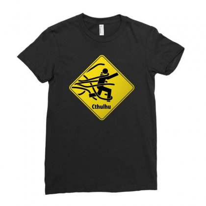 Cthul Danger Sign Ladies Fitted T-shirt Designed By Chilistore