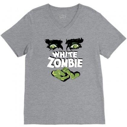White Zombie V-neck Tee Designed By Ditreamx