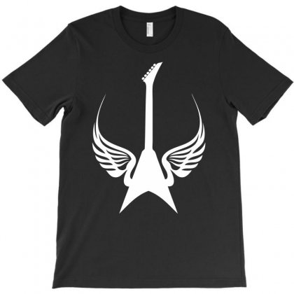 Cool Rock Electric Guitar Wings Music T-shirt Designed By Chilistore