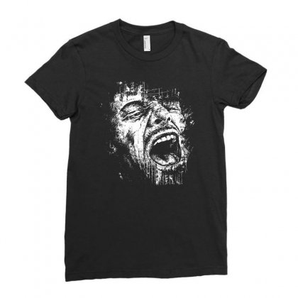 Scream Face Ladies Fitted T-shirt Designed By Mdk Art