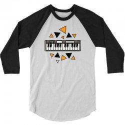 music,keyboard,electronic,piano,triangle,reflections,cute,vectorart, 3/4 Sleeve Shirt | Artistshot