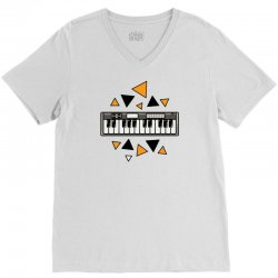 music,keyboard,electronic,piano,triangle,reflections,cute,vectorart, V-Neck Tee | Artistshot