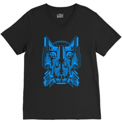 Circuit Wolf V-neck Tee Designed By Apuy