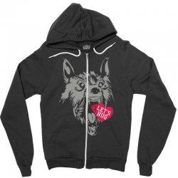 screaming wolf love you Zipper Hoodie | Artistshot