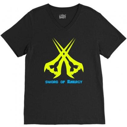 Sword Of The Energy V-neck Tee Designed By Mdk Art