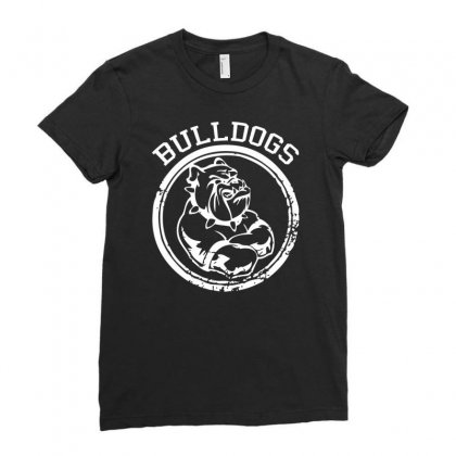 Bulldog Sports Team Ladies Fitted T-shirt Designed By Mdk Art