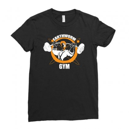 Earth Worm Gym Ladies Fitted T-shirt Designed By Mdk Art