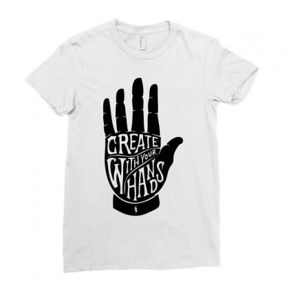 Create With Your Hands Ladies Fitted T-shirt Designed By Mdk Art