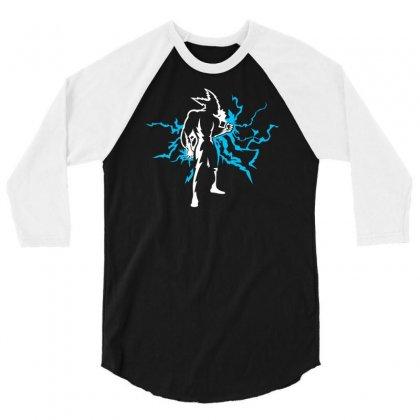 Blue Lightning 3/4 Sleeve Shirt Designed By Chilistore