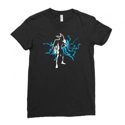 Blue Lightning Ladies Fitted T-shirt Designed By Chilistore
