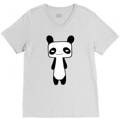 Thin Panda V-neck Tee Designed By Mdk Art