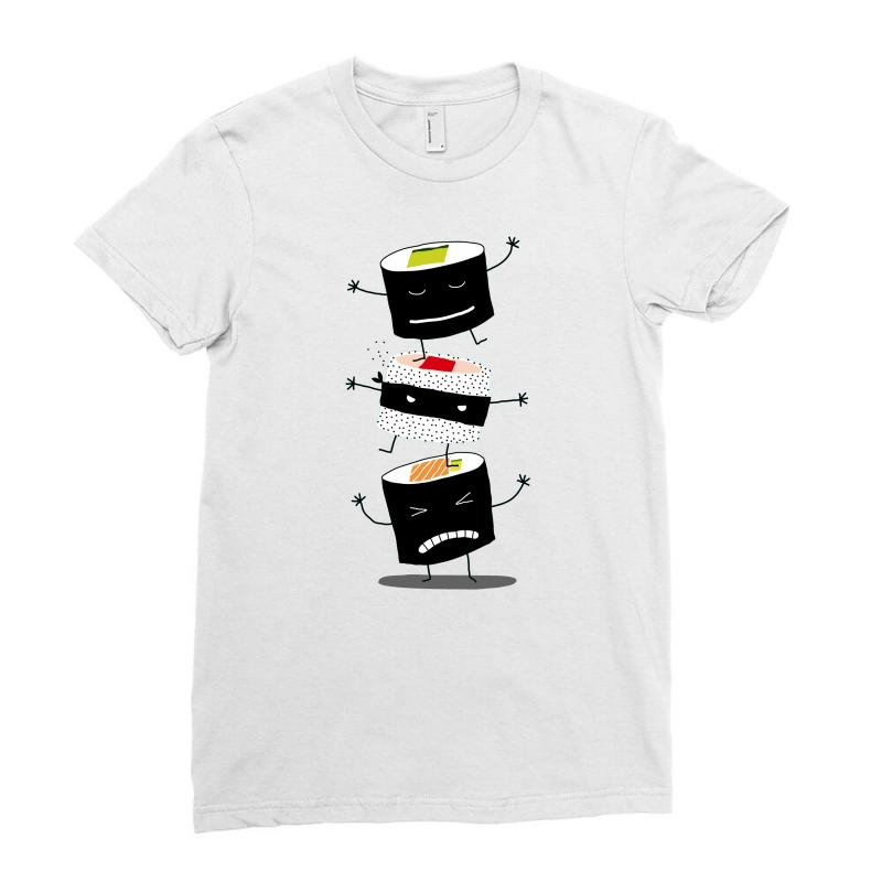 ca891f9ece Custom Cute Ninja Sushi Ladies Fitted T-shirt By Thesamsat - Artistshot