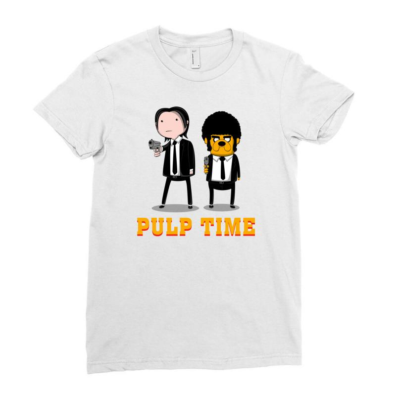 Custom Adventure Time Pulp Fiction Ladies Fitted T-shirt By ... 230549336