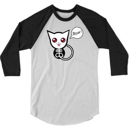 Creepy Cat Rawr 3/4 Sleeve Shirt Designed By Thesamsat