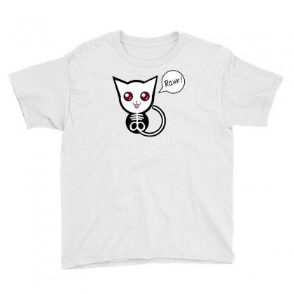 Creepy Cat Rawr Youth Tee Designed By Thesamsat
