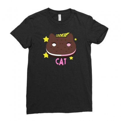 Cookie Cat Ladies Fitted T-shirt Designed By Thesamsat