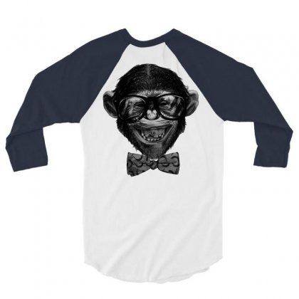 Chimp Grin 3/4 Sleeve Shirt Designed By Chilistore