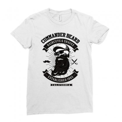 Commander Beard Ladies Fitted T-shirt Designed By Ditreamx