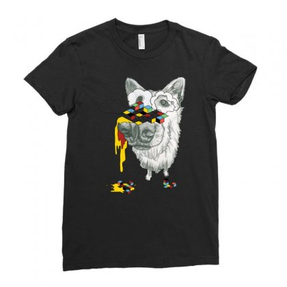 Cube Dog Ladies Fitted T-shirt Designed By Chilistore