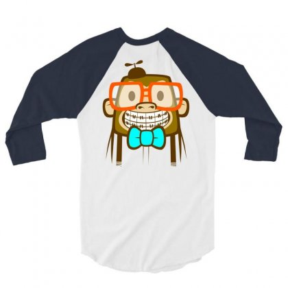 Geek Monkey 3/4 Sleeve Shirt Designed By Chilistore