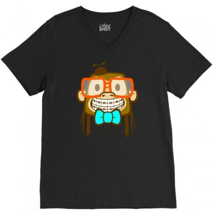 Geek Monkey V-neck Tee Designed By Chilistore