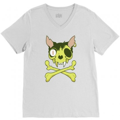 Kitty Krossbones V-neck Tee Designed By Thesamsat