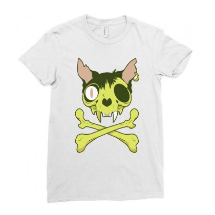 Kitty Krossbones Ladies Fitted T-shirt Designed By Thesamsat