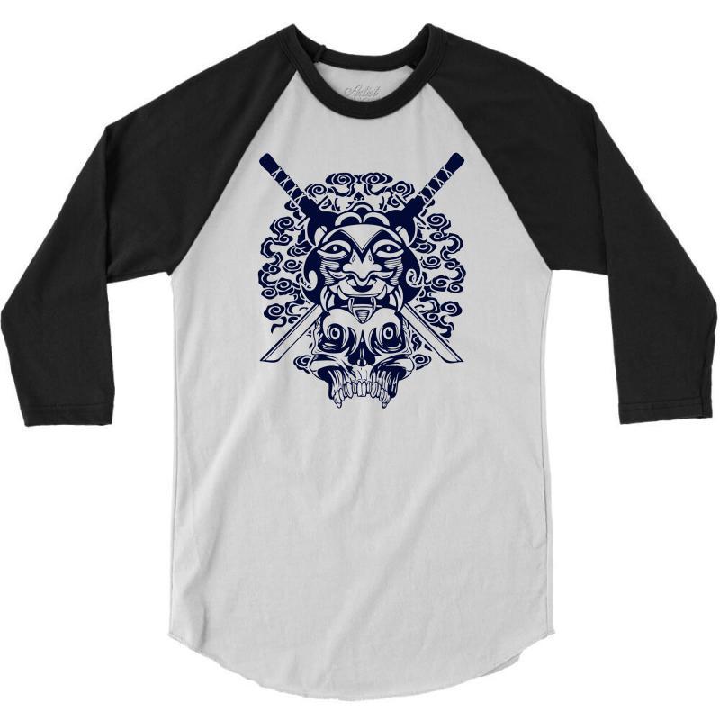 Samurai Mask And Skull 3/4 Sleeve Shirt | Artistshot