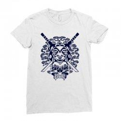 Samurai Mask and Skull Ladies Fitted T-Shirt | Artistshot