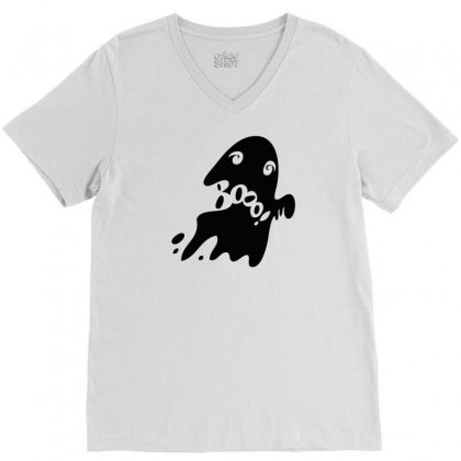 Halloween Card With Spooky Boo V-neck Tee Designed By Thesamsat