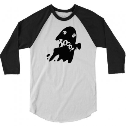 Halloween Card With Spooky Boo 3/4 Sleeve Shirt Designed By Thesamsat