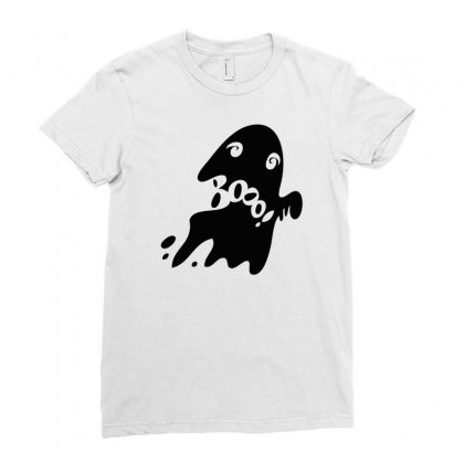 Halloween Card With Spooky Boo Ladies Fitted T-shirt Designed By Thesamsat