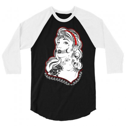 Sugar Skull Women White 3/4 Sleeve Shirt Designed By Specstore