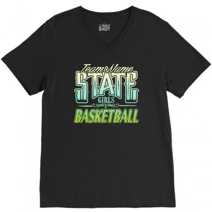 State Girls Basketball V-neck Tee Designed By Buckstore