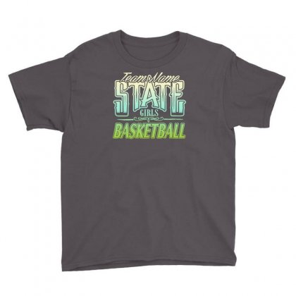 State Girls Basketball Youth Tee Designed By Buckstore