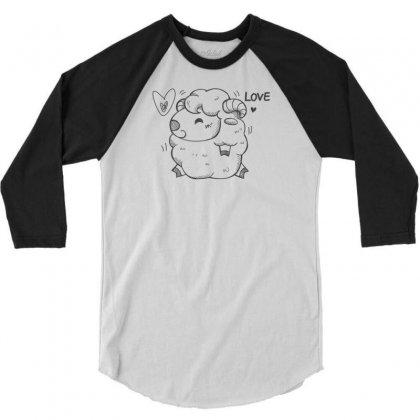 Happy Love And Life Sheep 3/4 Sleeve Shirt Designed By Specstore