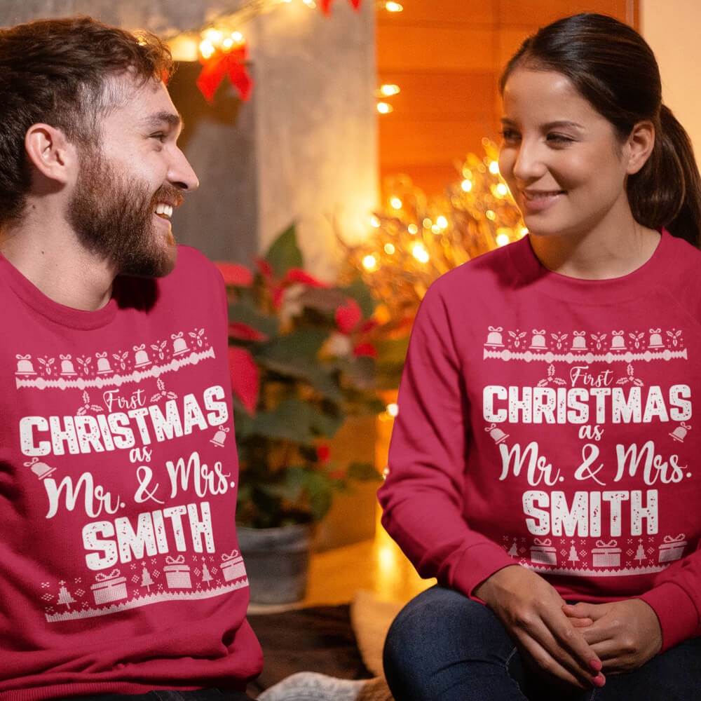 Custom Sweatshirt Custom Sweatshirt First Christmas As Mr And Mrs Smith | Artistshot