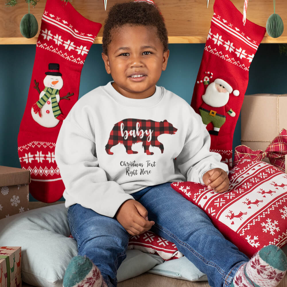 Custom Sweatshirt Baby Bear Christmas Text Here | Artistshot
