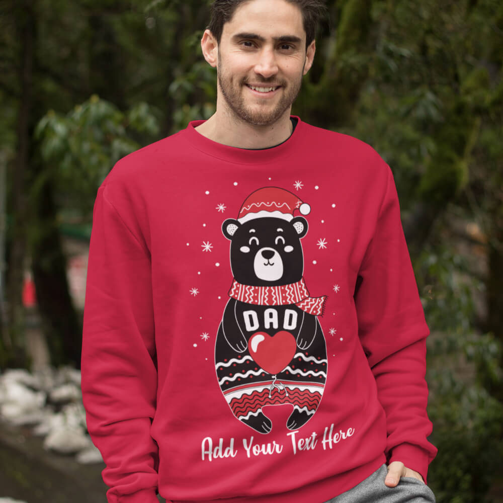 Custom Sweatshirt Boho Christmas Bear Family Matching Dad Add Your Text Here | Artistshot