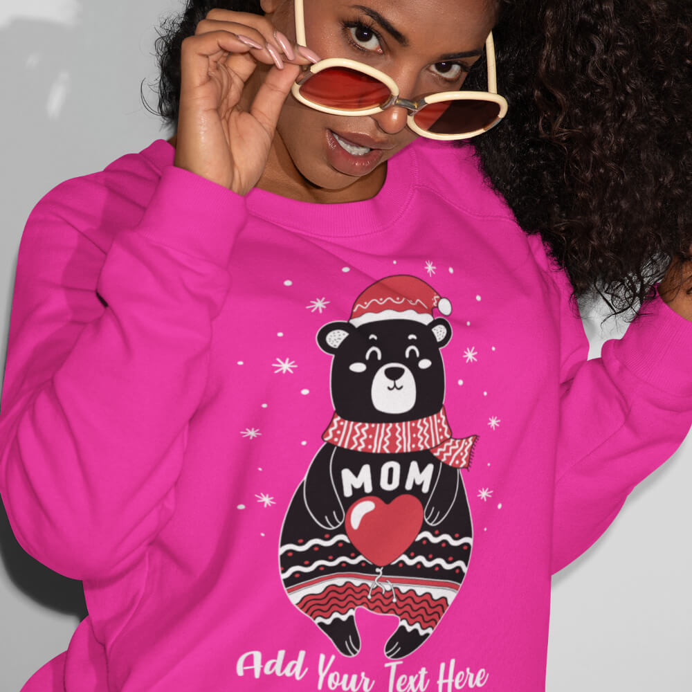 Custom Sweatshirt Boho Christmas Bear Family Matching Mom Add Your Text Here | Artistshot