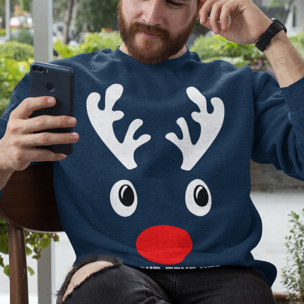 Custom Sweatshirt Christmas Deer Family Matching Male Deer Add Your Text Here | Artistshot