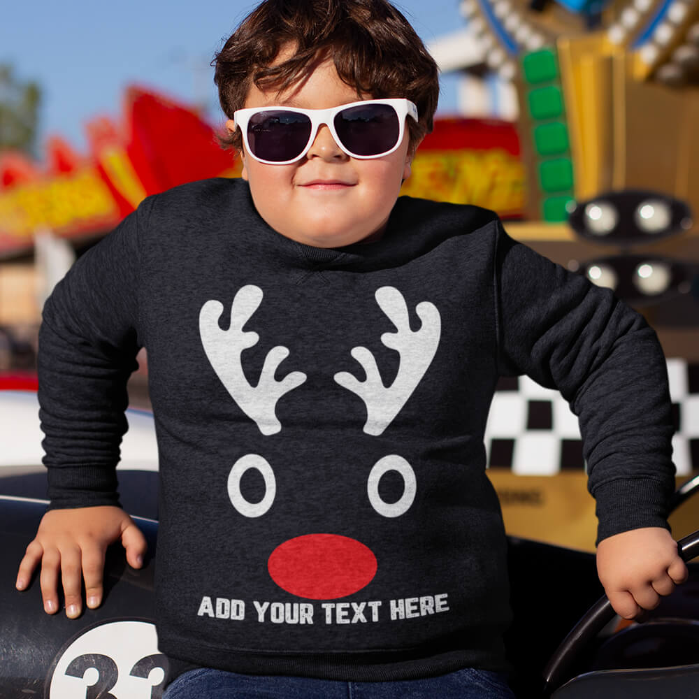 Custom Sweatshirt Christmas Deer Family Matching Mini Deer Add Your Text Here | Artistshot