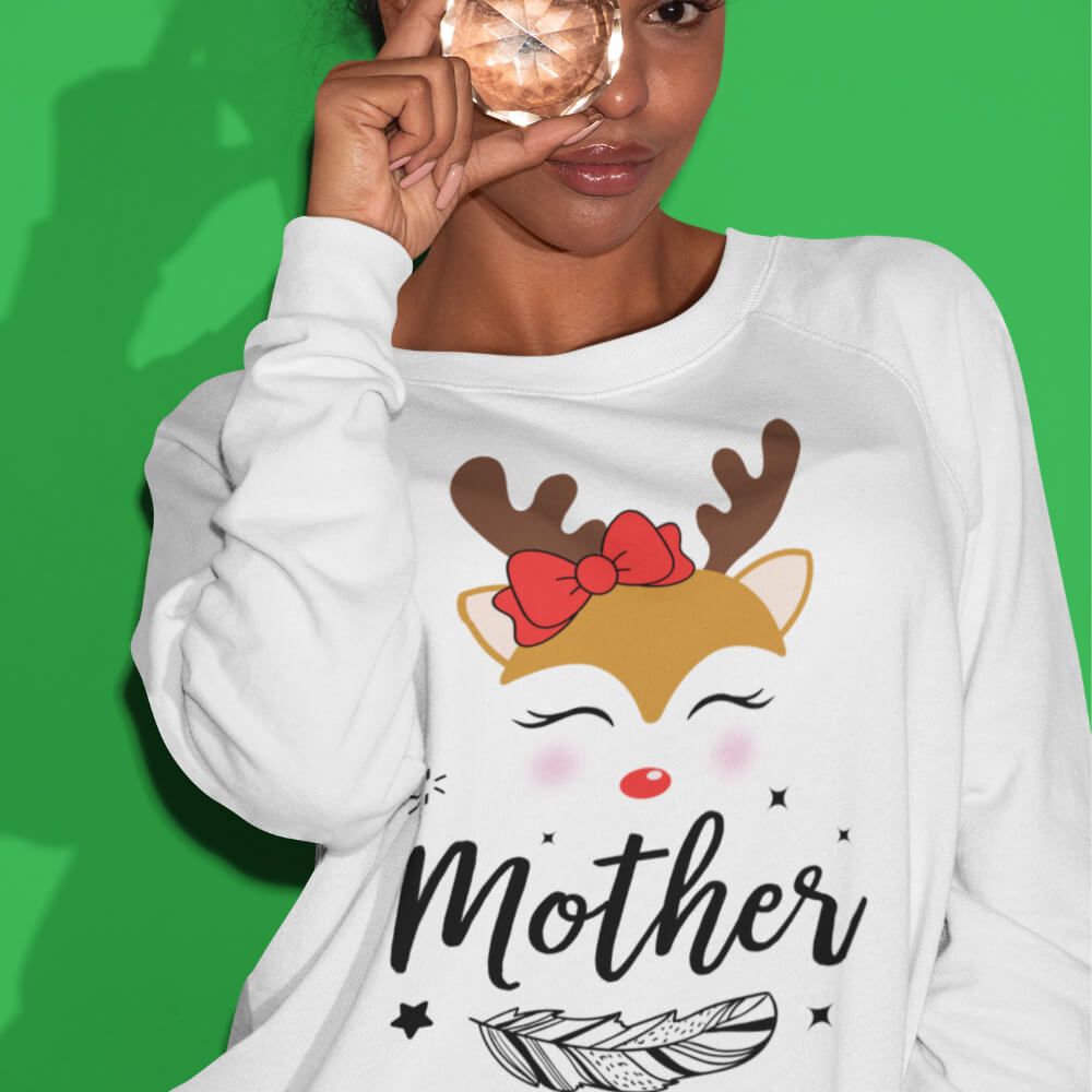Custom Sweatshirt Cute Boho Style Christmas Deer Family Matching Mother | Artistshot