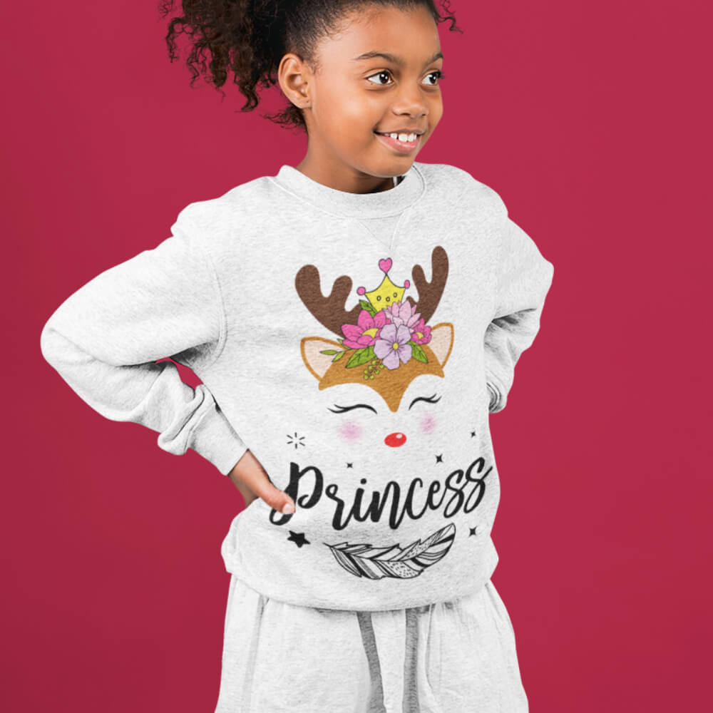 Custom Sweatshirt Cute Boho Style Christmas Deer Family Matching Princess | Artistshot