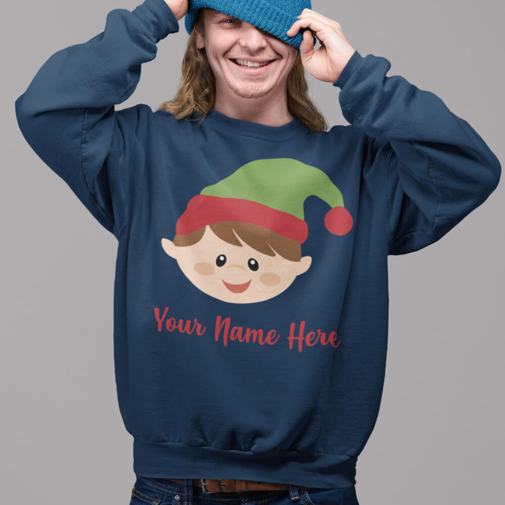 Custom Sweatshirt Cute Elf Head With Name | Artistshot
