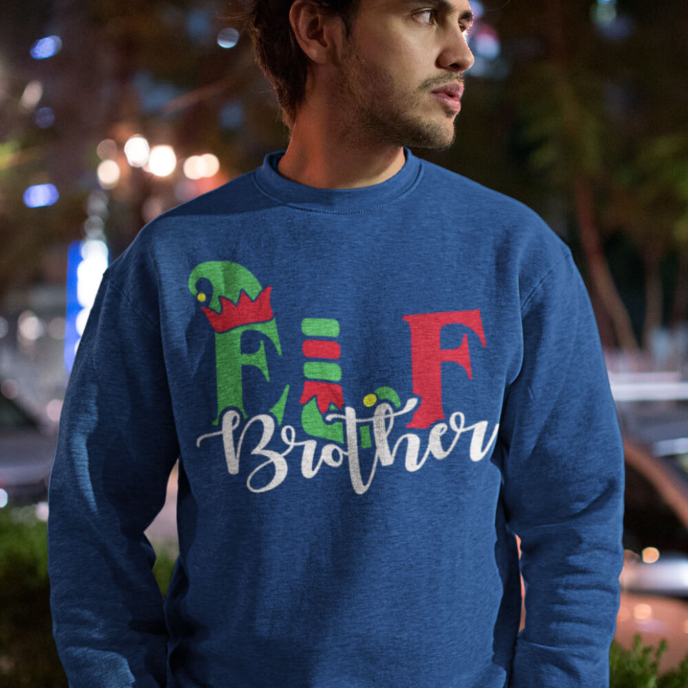 Custom Sweatshirt Elf Brother Christmas Family Matching | Artistshot