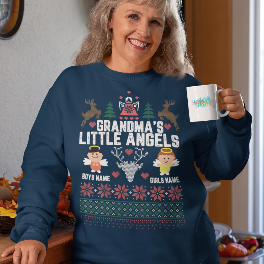 Custom Sweatshirt Grandma's Little Angels | Artistshot