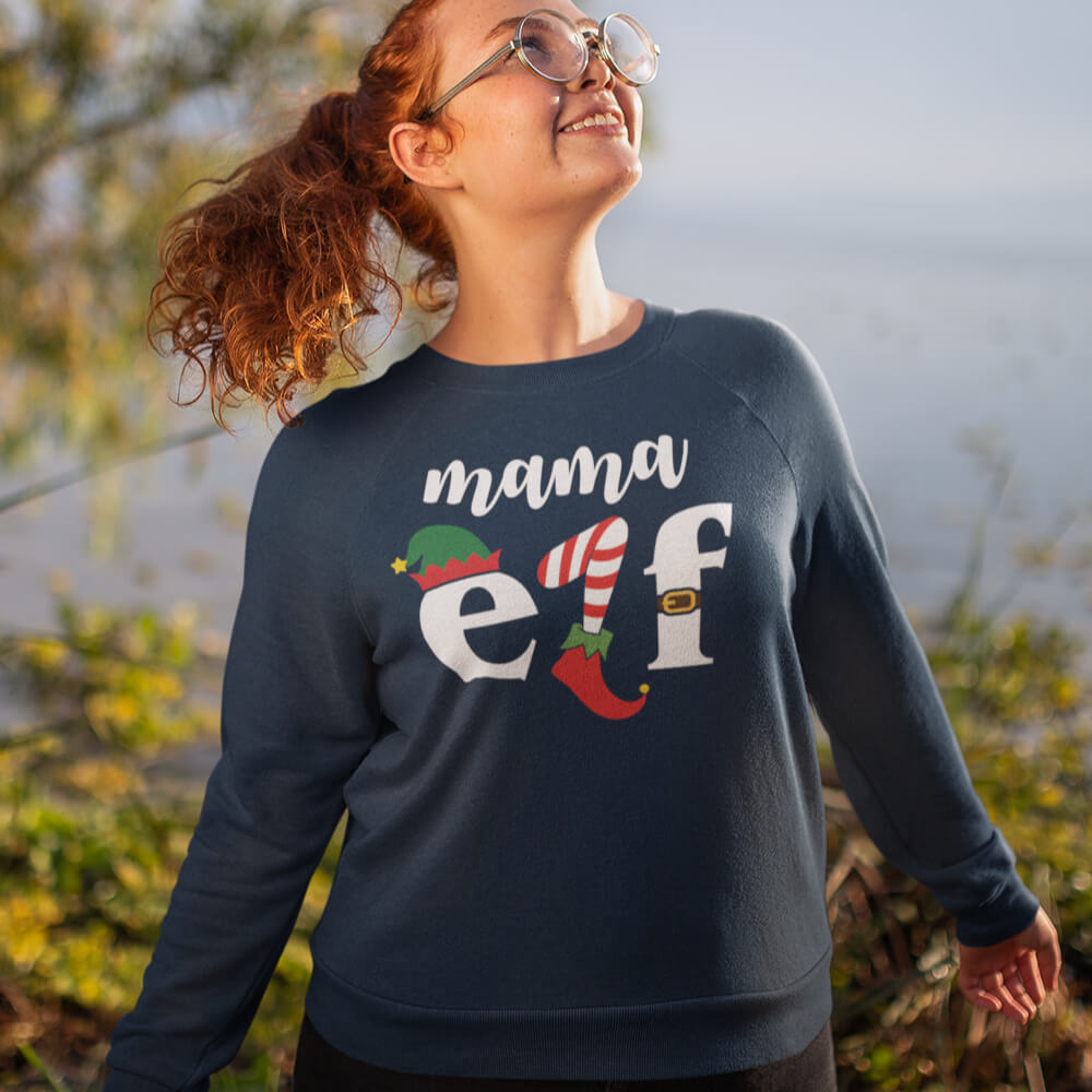 Custom Sweatshirt Mamma Christmas Elf | Artistshot